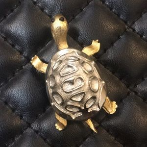Vintage Gold & Silver Two Tone Sea Turtle Brooch